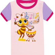 Girls-Pajamas-Children-Bee-Sing-Music-Sleepwear-Short-Sets-0-0