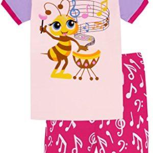 Girls-Pajamas-Children-Bee-Sing-Music-Sleepwear-Short-Sets-0