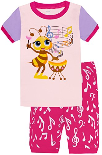Girls-Pajamas-Children-Bee-Sing-Music-Sleepwear-Short-Sets-0